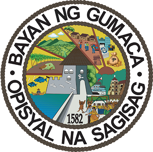 """Town seal featuring a fort in the middle with the text """"Bayan Gumaca • Opisyal na Sagisag"""" arranged around it."""